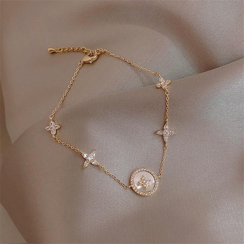 Luxury Fashion Cubic Zirconia Natural Shell Shell Charm per donna squisita catena d'oro braccialetto braccialetto gioielli ragazza regalo gioielli