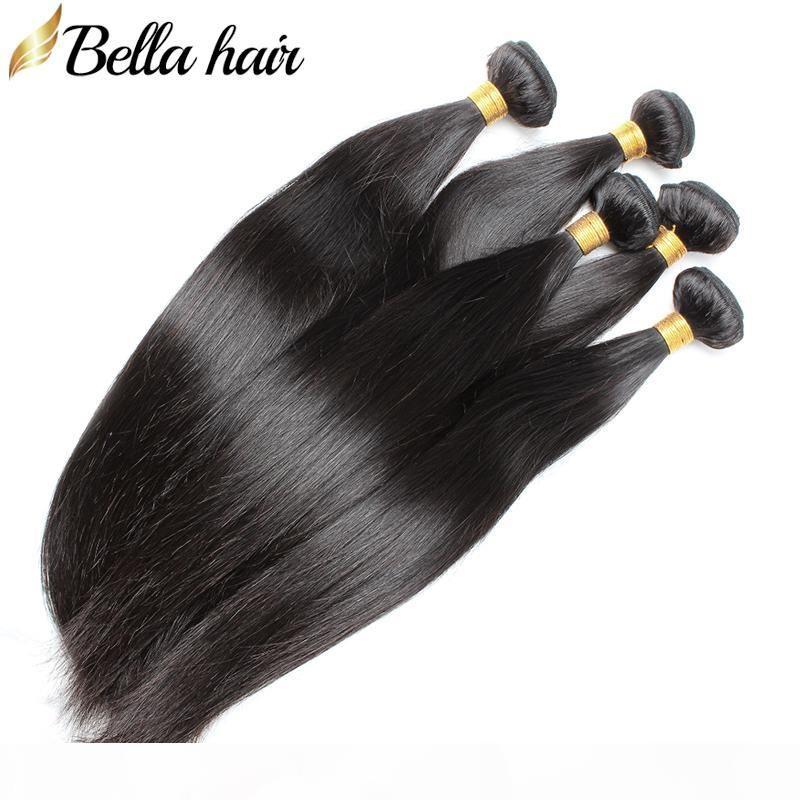 Seidige gerade brasilianische Jungfrau-Haar-Bundles Menschenhaar-Verlängerung 10-30 Zoll Grade 10A 4pcs lot natürliche Farben-freies Verschiffen Bella Haar