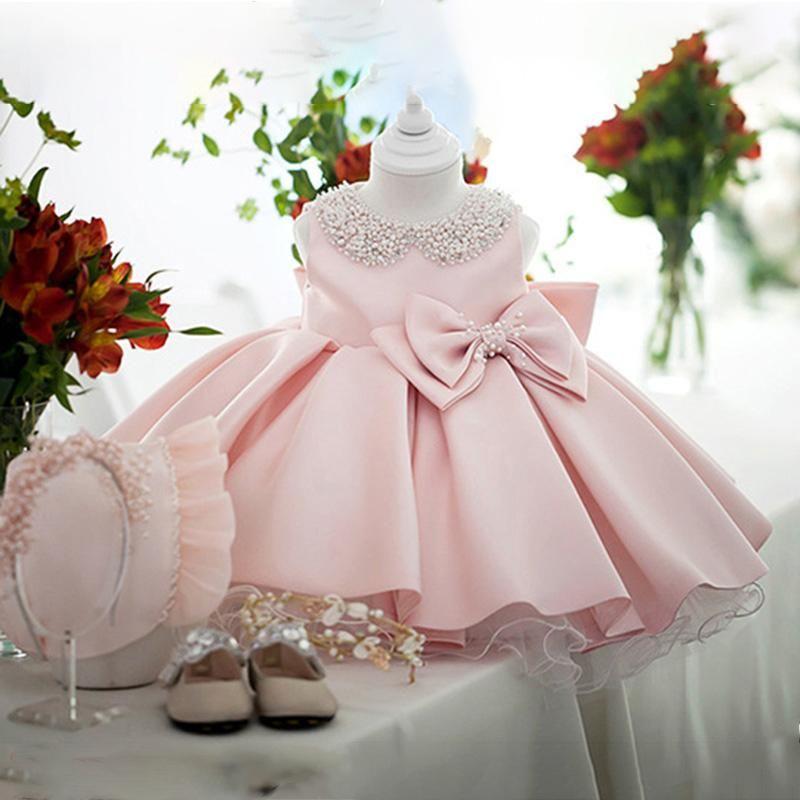 Robes Fille De Mariage Blanc Satiné Satiné Princess Bébé Filles Robe Perle Bow Bown Anniversaire Soirée Enfant Pour Girl Gala Kid Vêtements 2 8 10 ans
