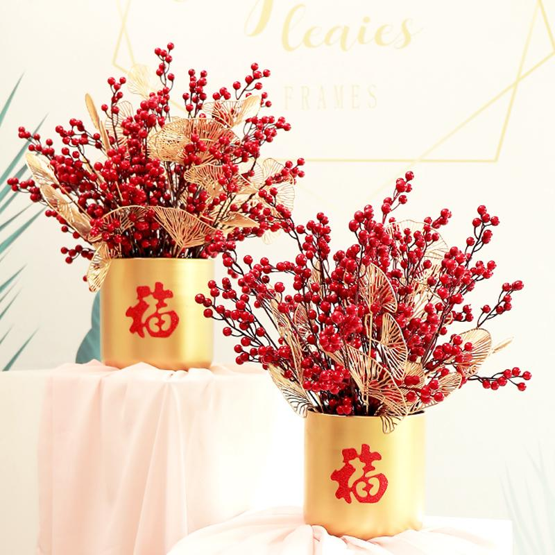 65cm longos ramos artificiais berry ramos falsos espuma de frutas vermelhas de espuma de frutas douradas folhas chinês ano novo inverno casa mesa casamento decoração de jardim