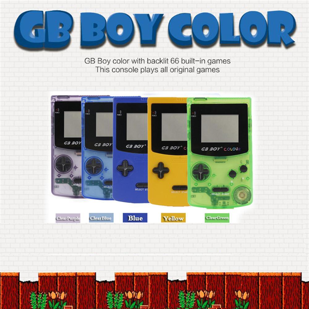 """GB Boy Classic Color Handheld Game Console console 2.7 """"Game Player con retroilluminazione 66 Giochi integrati Retro portatile portatile gioco giocatori console"""