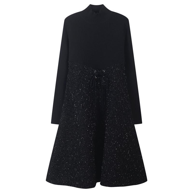 Runway Warp Lace Up Damen Kleider Plaid Shiny Slim Fit Robe Gestrickte Vestidos Langarmschünde A-Line Damen Kordelzug Kleid