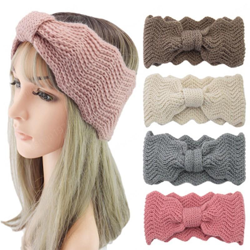 Femmes bandeau élégant petite ondes tricotées de laine bandeau de laine laver la face cheveux bandes chauffant oreille molle nœud tête tête accessoires de cheveux
