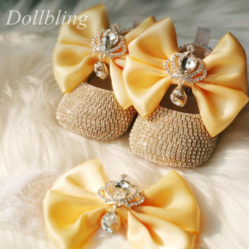 Dollbling bebê diamante sapatos jóias da coroa Handband Bling Sparkly Prewalkers lindo pérolas Infantil Pequeno vestido menina Shoes