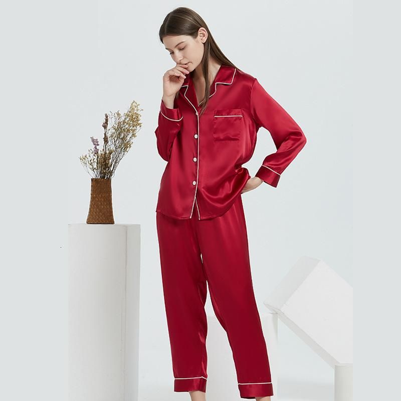 Hosen-Pyjamas-Stück 100% Zwei langes Seidenhülsen-Home-Kleidung
