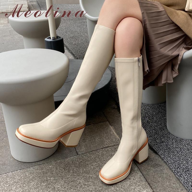 Meotina Diz Yüksek Boots Kadınlar Fermuar Platformu Aşırı Yüksek Topuk Kadın Boots Kare Toe Kalın Topuklar Uzun Bayanlar 43 Ayakkabı