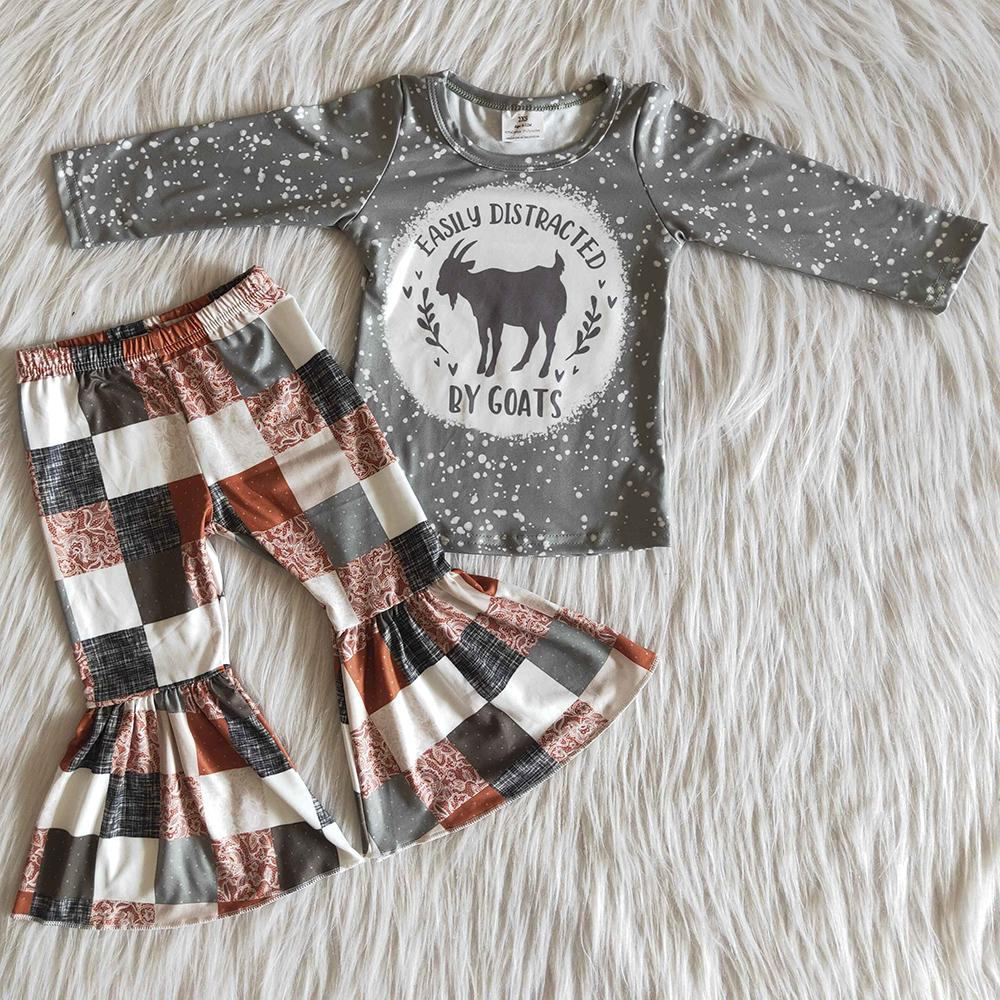 RTS Atacado crianças roupas de grife Meninas de Bell inferior Roupas de bebê pequenos Meninas Vestuário 2pcs queda roupa bonito para a menina Hot Sale da criança