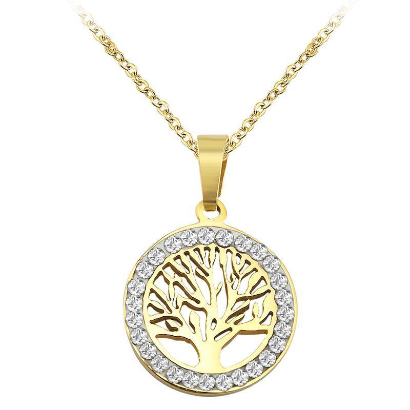 Дерево жизни круглой формы подвески Кристалл ожерелье Золото Серебро Цвет ожерелье из нержавеющей стали Choker 2020 Уникального Maxi ожерелье