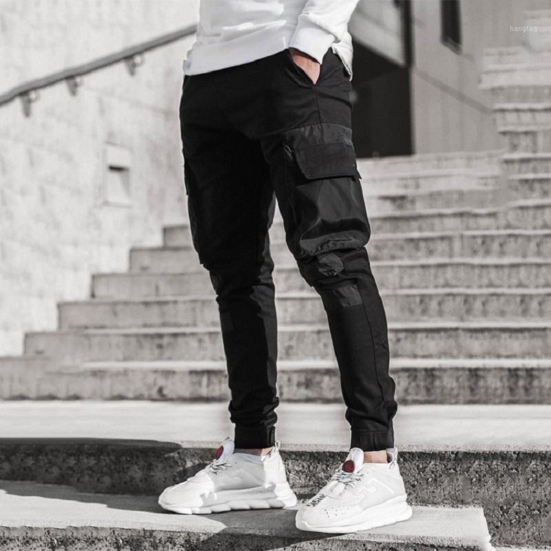 Pantalones para hombres Bolsillos laterales para hombres Cargo Harem Cintas Black Hip Hop Casual Male Joggers Pantalones Moda Streetwear Pants1