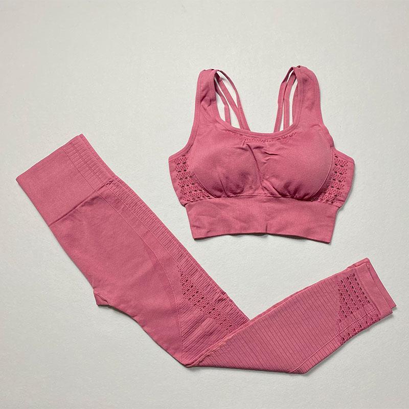 Energia sem costura yoga set fitness roupas sportswear mulheres gym leggings acolchoado push-up strappy sports sutiã 2 pcs terno esportivo