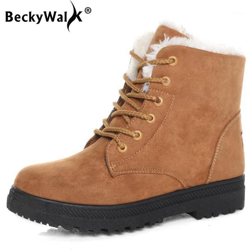 Klassische Stiefel Damen Schneeschuhe Winter Damen Lace Flache Ferse Knöchel Mode Warm Plüsch Schuhe WSH24611