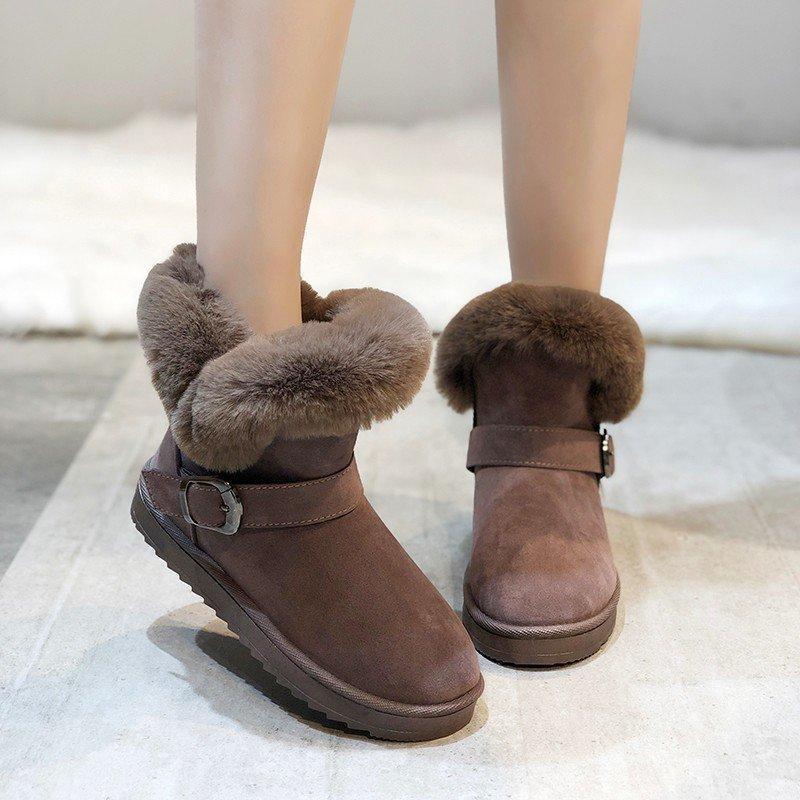 Invierno 2020 moda de moda color sólido cálido y gruesa damas botas cortas de cuero 1537