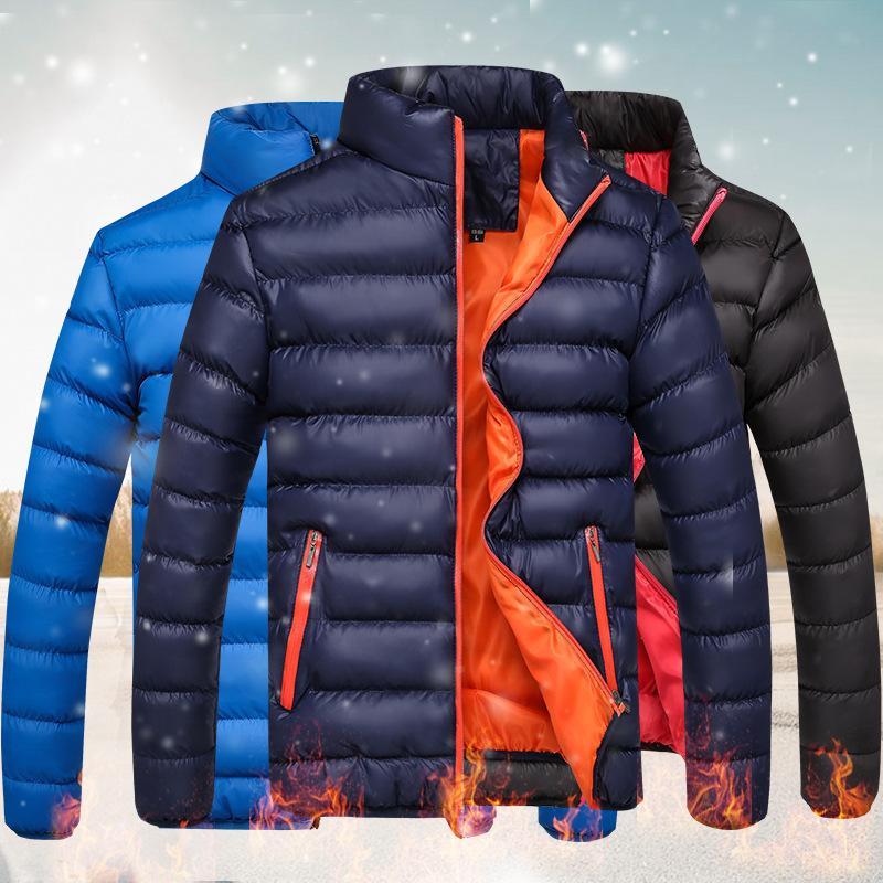 Kalınlaşmış kış standı yaka aşağı pamuk yastıklı şık sıcak ve soğuk geçirmez ceket, erkek giyim