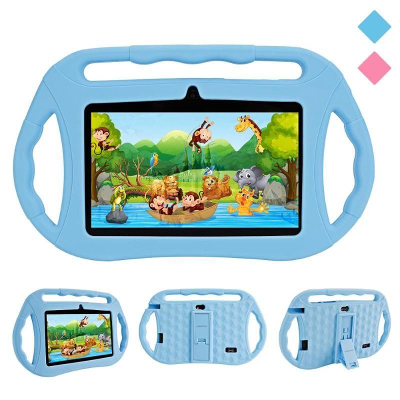 Veidoo 7-дюймовый Android Детский планшетный Wi-Fi Двойная камера Детский планшетный ПК 1 ГБ + 16 ГБ Google Play Store с силиконовым корпусом
