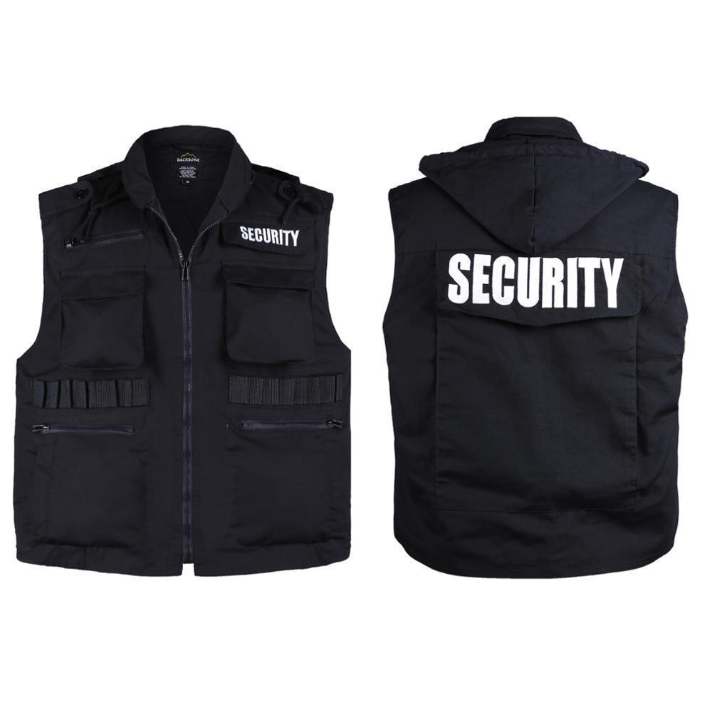 Veste uniforme de sécurité de style de l'armée pour hommes - Black -Size S, M, L, XL, 2XL 201126