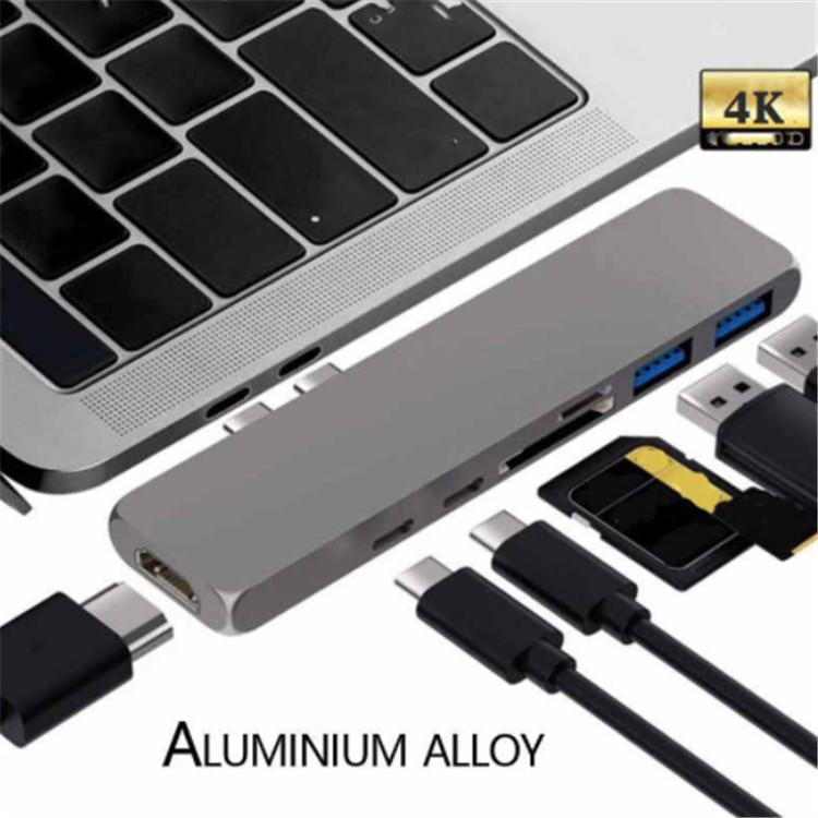 Dual Type-C USB C MacBook Pro à HDMI TF SD SD Card Reader Hub Station d'accueil 4K