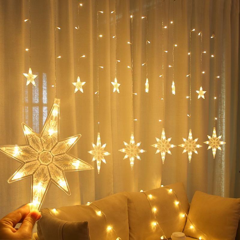 2.5m LED North Star Tenda Light 220V UE Ghirlanda di Natale Ghirlanda String Fairy Lights Outdoor per Window Wedding Party New Year Decor