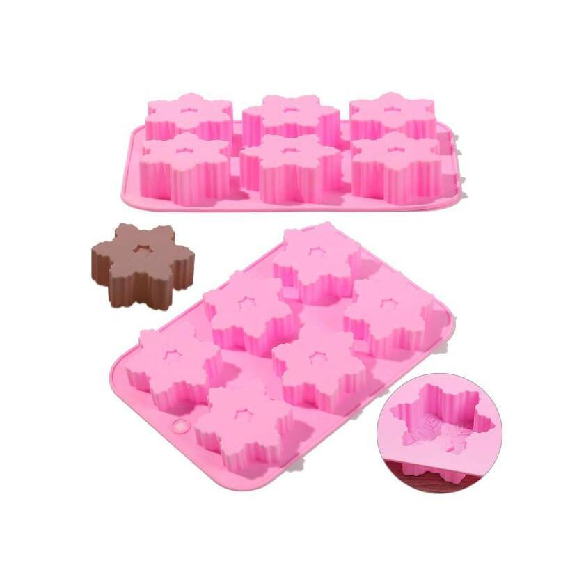 2 PC-6 Cavidad del copo de nieve del baño bomba de jabón del molde de silicona rosa, hecha a mano mollete del chocolate de Navidad Pan molde del caramelo moldes del cubo de hielo hornear el pastel