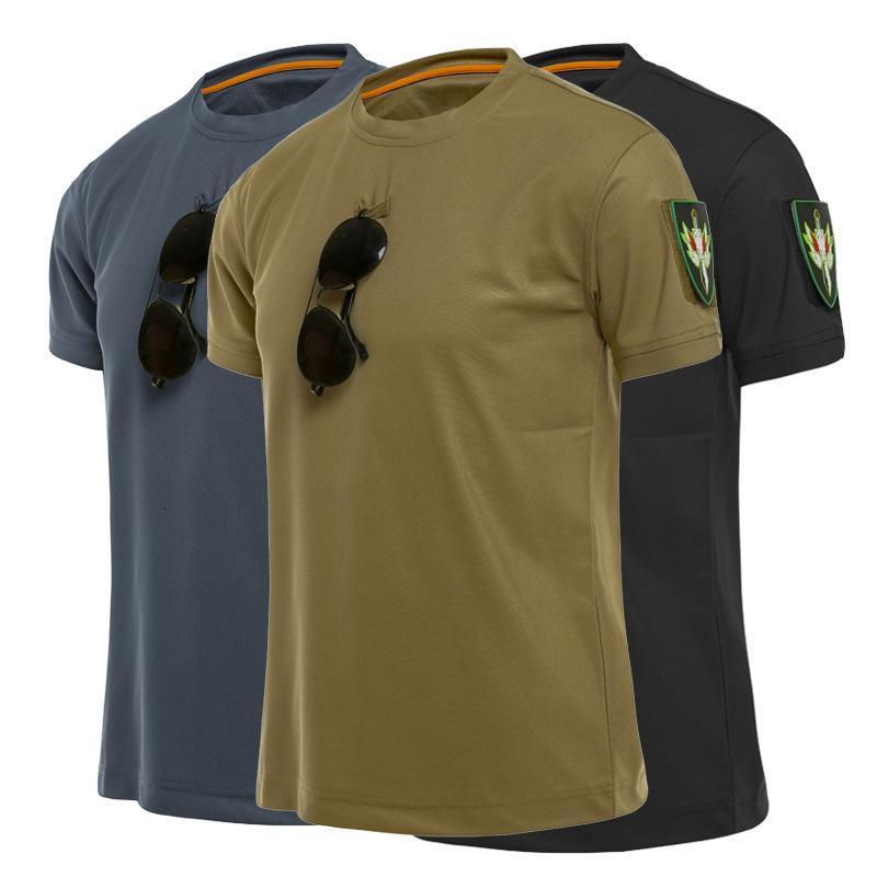 Spezielles Solider T-Shirt Herren Plus Size Lose Taktische Kurzärmelige Stretch Schnelltrocknung Militärliebhaber Training T-shirt