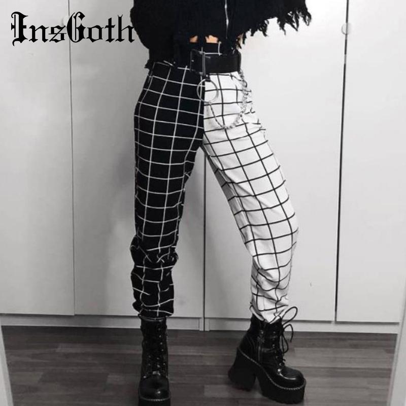 InsGoth Checkerboard Plaid Casual Cargo Pants Women Gothic Streetwear Fashion High Waist Patchwork Long Trousers 200930