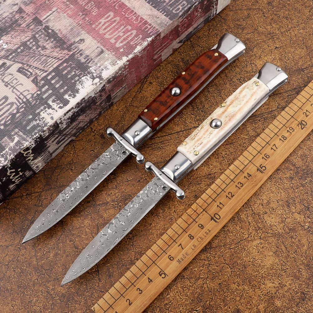 야외 캠프 9 인치 마피아 다마스커스 강철 뿔 / 목재 손잡이 자동 접는 나이프 전술 사냥 주머니 과일 칼