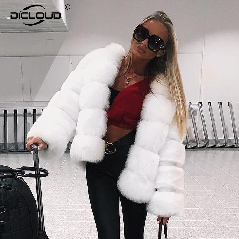 Trendy Faux Fox Fur Coat Women Winter New Overcoats Thicken Warm Fur Jackets Coats Girls Luxury Outerwear Plus Size XXXL 201016