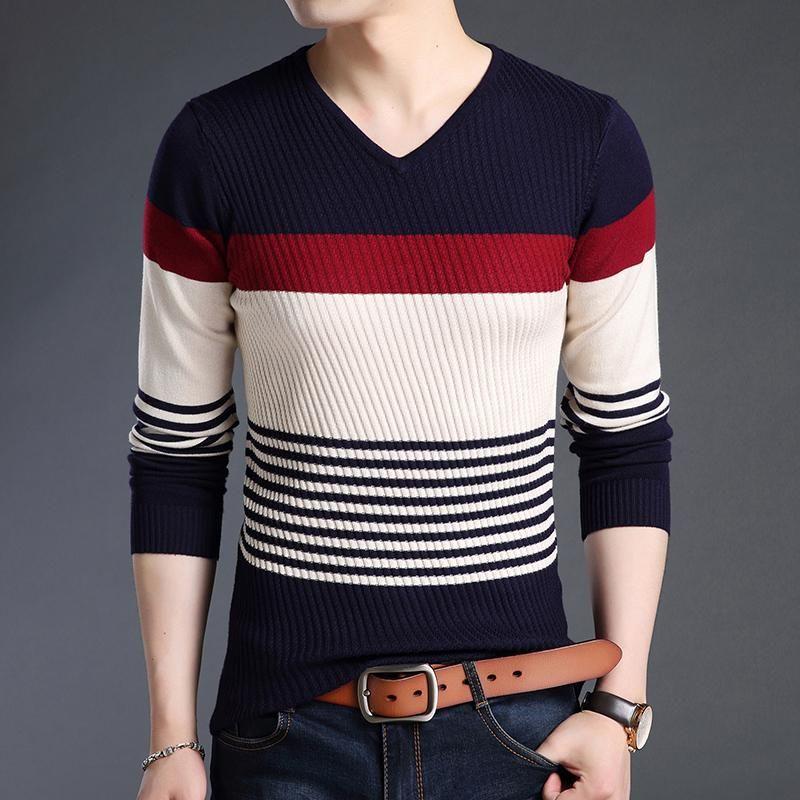 Erkek Kazakları 2021 Moda Marka Kazaklar Çizgili Slim Fit Süveter Triko Sıcak Sonbahar Kore Tarzı Casual Erkek Giysileri