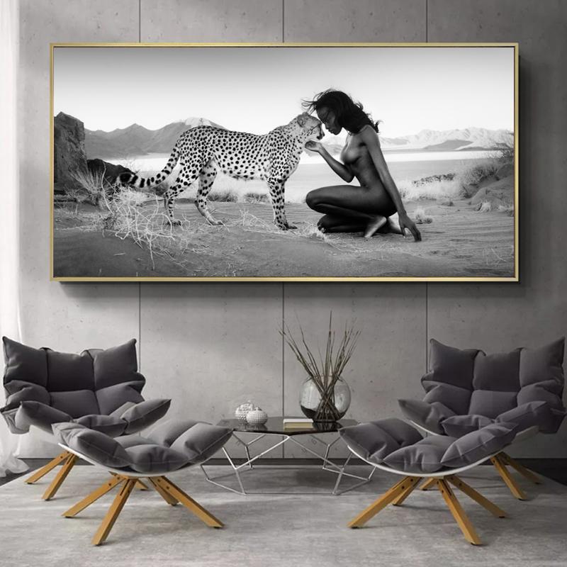 Posters humanas e da natureza e Paintings Prints Snow Leopard e Nude mulheres da lona Wall Art Cuadros Pictures for Living Room Decor