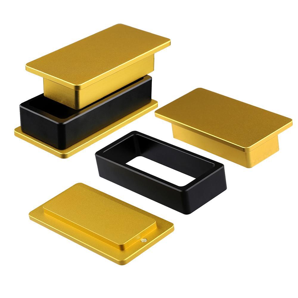 Couleur d'or chaude 2.4x4.8 pouces Aluminium Rosin Pre Press Moule pour DIY Fumeurs Sécher Sèche Herbe Extraction Appuyez sur Cire Presse Accessoires Vape