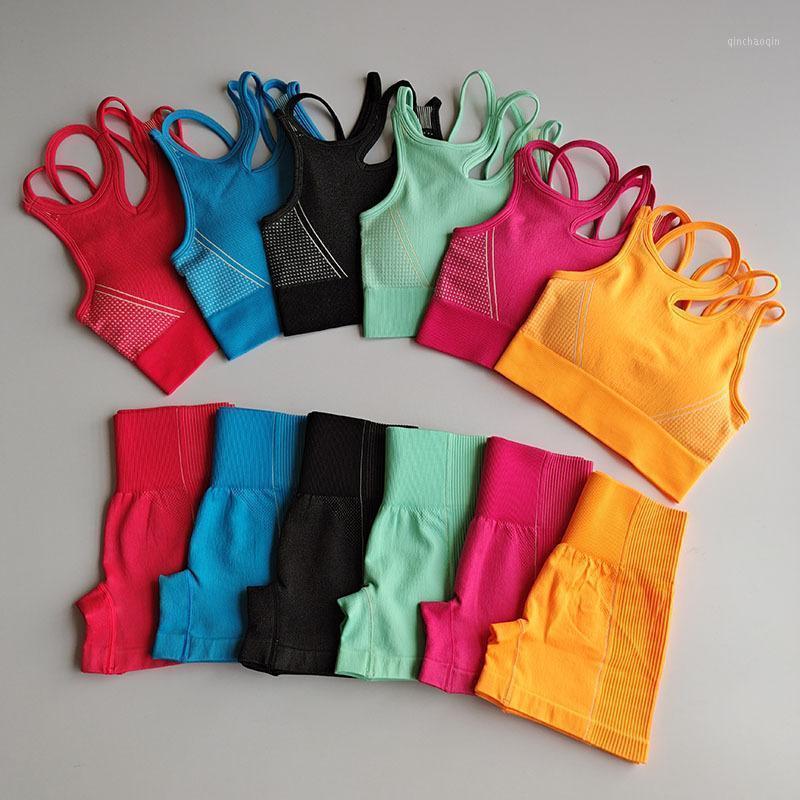 2020 Ropa de entrenamiento Mujeres Mujeres sin fisuras Yoga Sports Trajes Deporte Sujetador Top + High Cintura Fitness Pantalones cortos de fitness 2 piezas Gimnasio Set Running SportSwea1