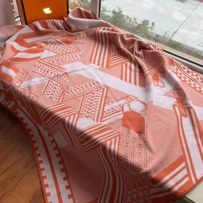 2020 NOVO Laranja H Blanket NOVO Projeto de lã e caxemira H cobertor de cavalo macio têm etiquetas para camas Sofá da tela da manta Ar Condicionado Viagem