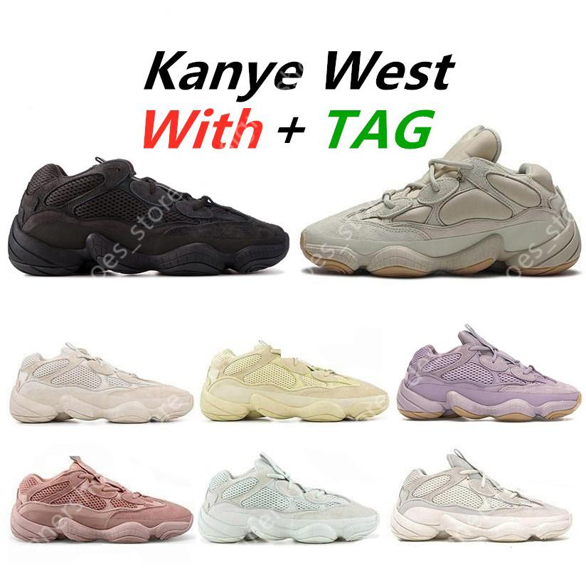 Yüksek Kalite 500 Kanye Batı Yumuşak Vizyon Taş Çöl Sıçan Koşu Ayakkabıları Kemik Beyaz Allık Süper Ay Sarı Erkekler Eğitmenler Sneakers