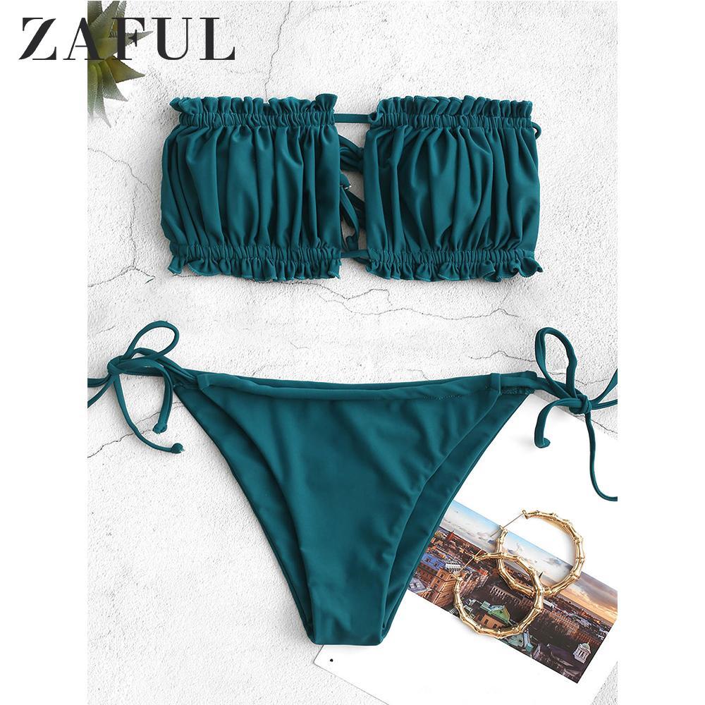ZAFUL Bikini Seti fırfır Straplez Tie Yan Bikini Bayan Mayo Yüksek Kesim Straplez Düşük Waisted yastıklı Bikini 2020 Seksi Moda 1004