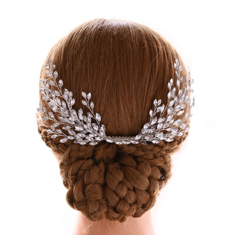 SLBRIDAL Nova cor de prata artesanal cor clara cristal strass cabelo pente de cabelo nupcial headpieces acessórios de cabelo mulheres jóias w0104