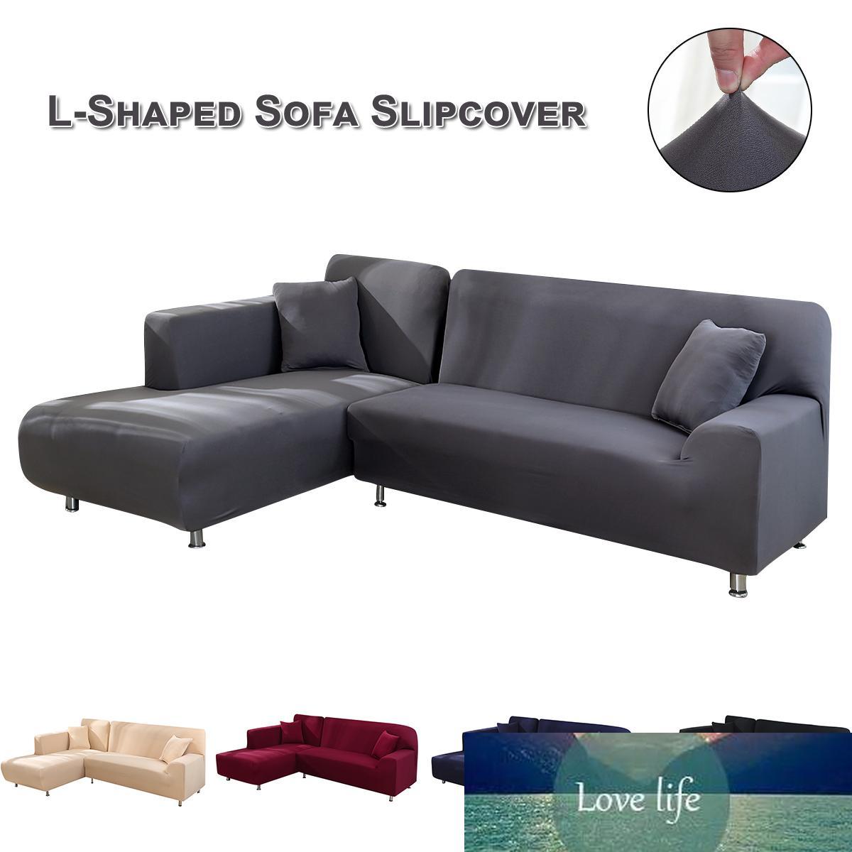 Section Couch Couvertures en forme de L Canapé d'angle Housses Meubles souple Slipcovers Polyester Tissu stretch couleur solide Canapé Covers D3