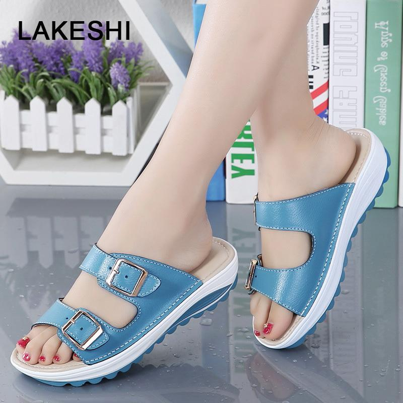 LAKESHI Women Slippers Fashion Women Flip Flops Soft Bottom Slides Summer Beach Shoes Buckle Ladies Shoes Flat Slippers 8 Colors X1020