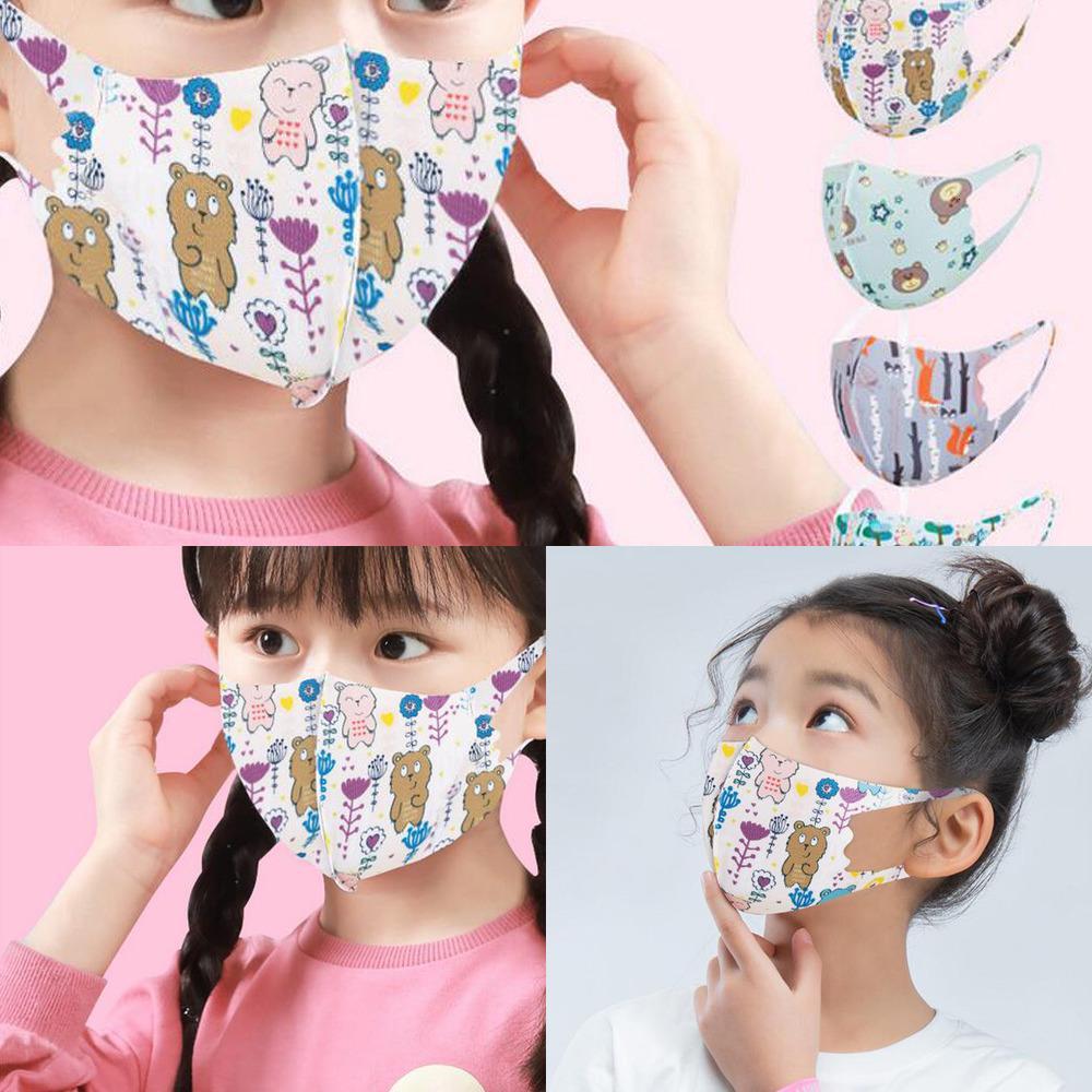 Concepteur lavable masque de mode de mode imprimé enfants respirant anti-poussière de dessin animé respirateur anti-bactérien de la soie de la soie réutilisable