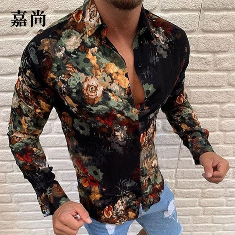 VNDE 2020 Camisa de manga casual para hombre de rayas de larga rayas Camisas Casuales Slim Fit Mens Hombres Vestido Camisa Camisa Formal Ropa Masculina