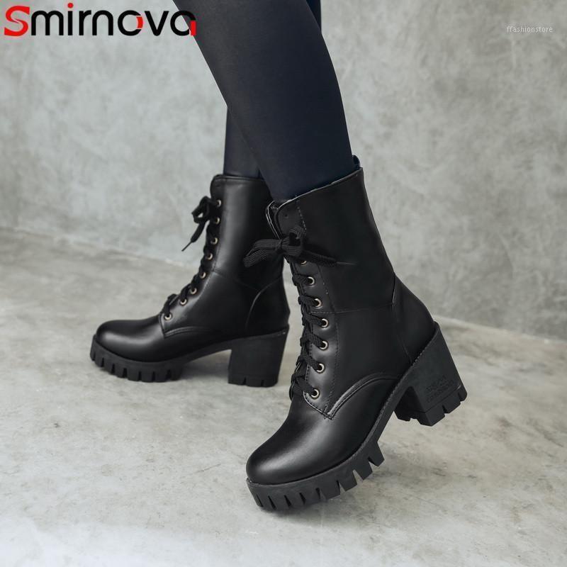 Смирнова 2021 мода осень зима новая обувь женщина круглые носки кружевные ботинки ботилью женские платформы густые высокие каблуки сапоги1