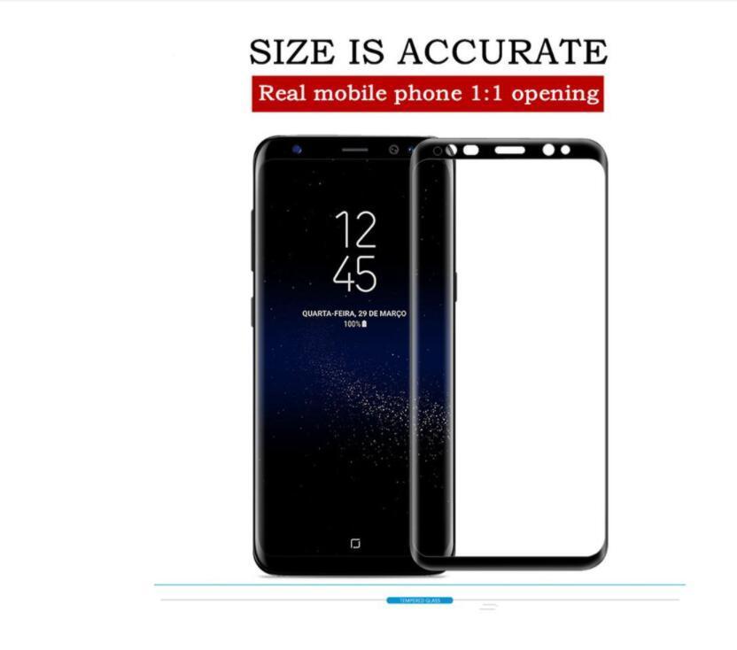 갤럭시 S7 S8 플러스 블랙 삼성 갤럭시 S8 S8 플러스 화면 보호기 FLIM에 대한 3 차원 곡선 전체 커버 강화 유리