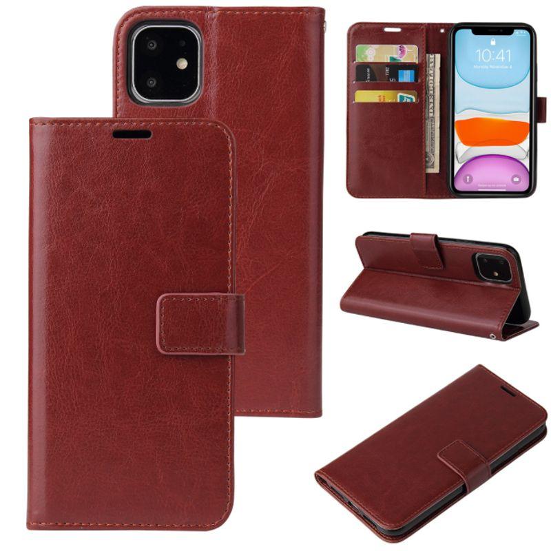 Coque téléphonique en cuir PU pour iPhone 12 11 PRO Max portefeuille boîtier XR XS SE Cover Cover Kickstand avec des machines à sous cartes