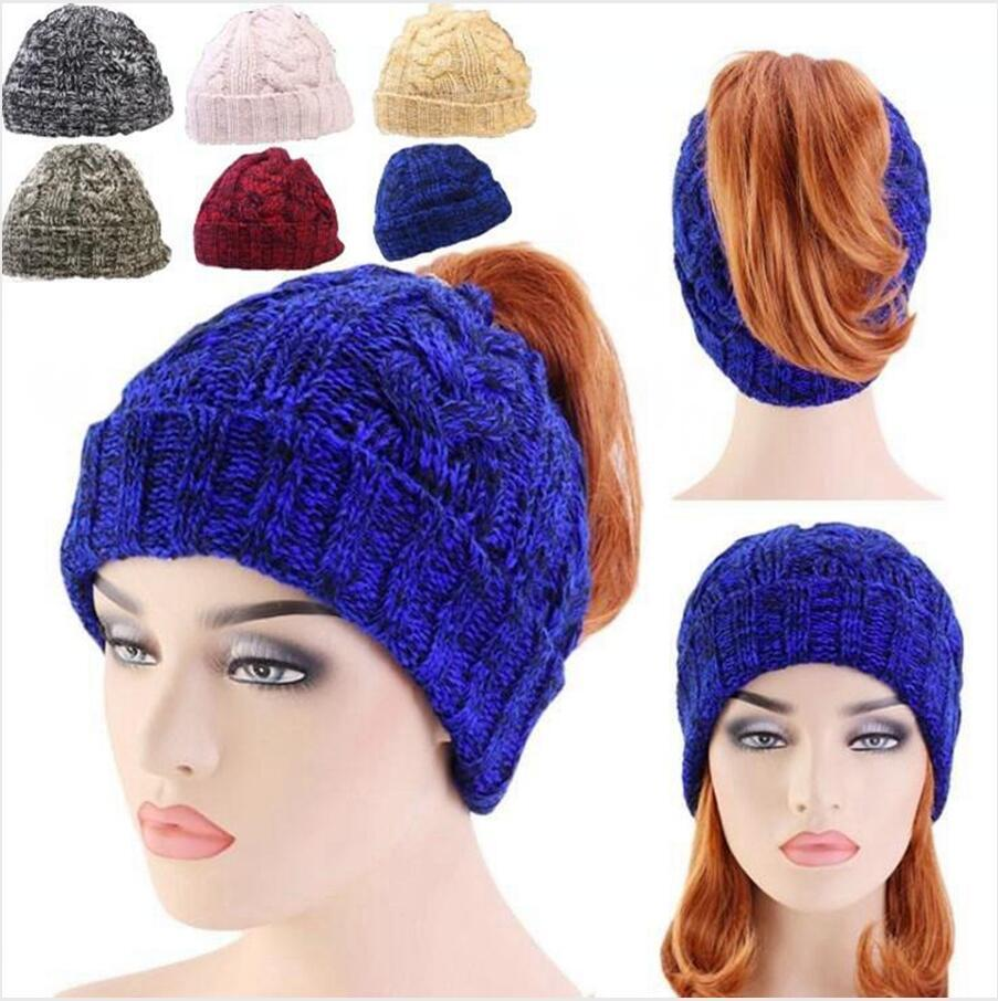 Fashion Knitted Beanie Lady Ponytail Hats Messy Bun Skull Cap Warm Crochet Hats Women Outdoor Knitting Cap DDA734