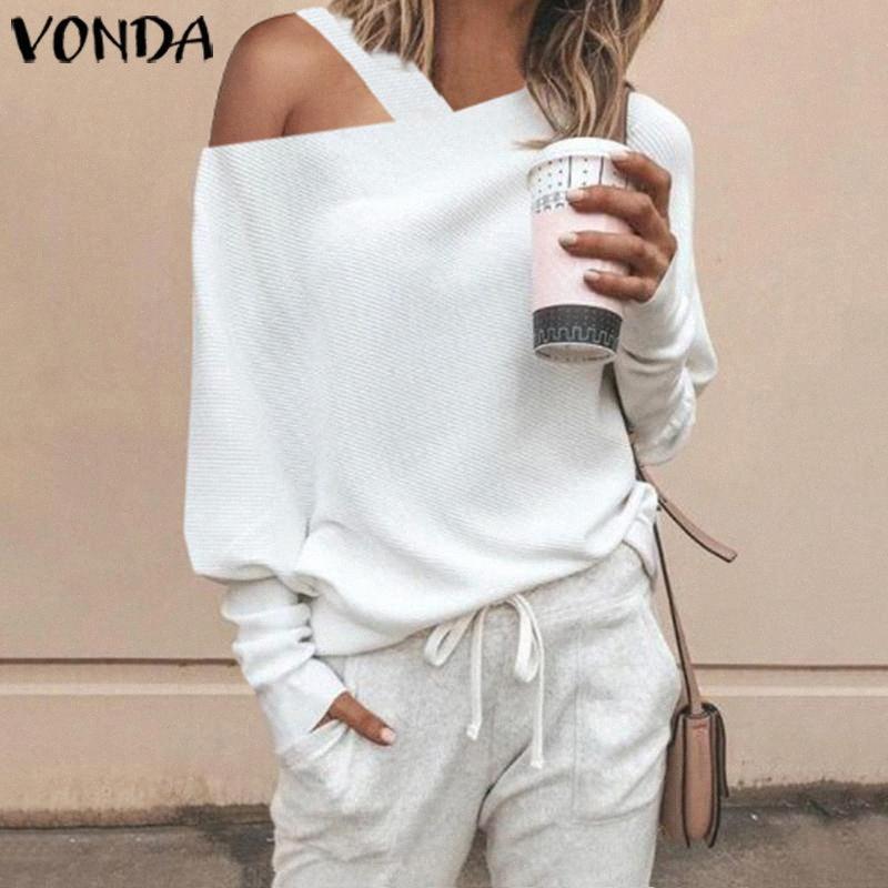 VONDA donne maglione Maglieria Top Autunno a maniche lunghe camicetta sexy fuori dalla spalla lavorato a maglia Pullover maglione sottile più il formato S-5XL Y200720 41Sd #
