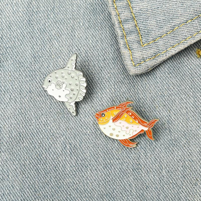 Ocean Cartoon Fish Enamel Pins Colors Cute Tropical Fish Brooches Gift For Friends Jewelry Clothes Bag