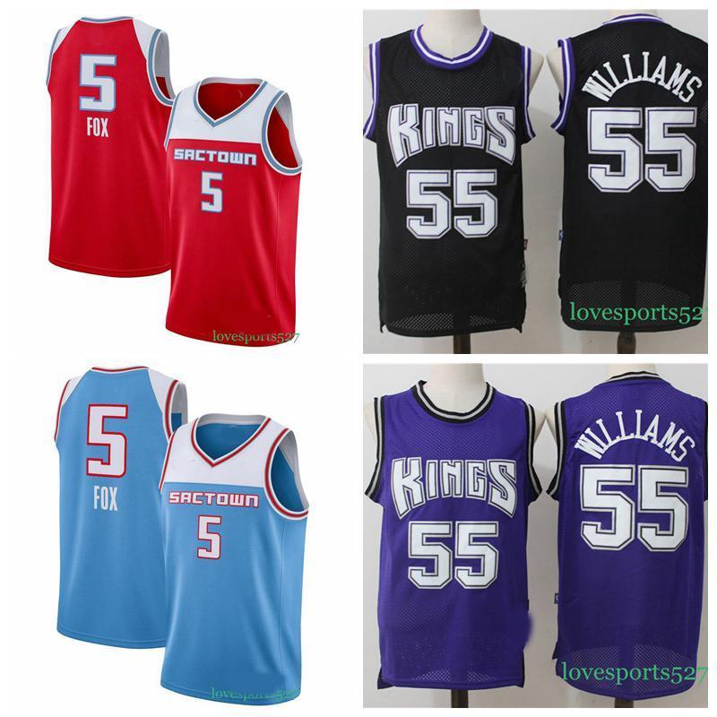 2020 Men s SacramentoKingsjersey 5 De Aaron Fox Jersey Jason 55 Williams Basketball Jersey Shorts 829