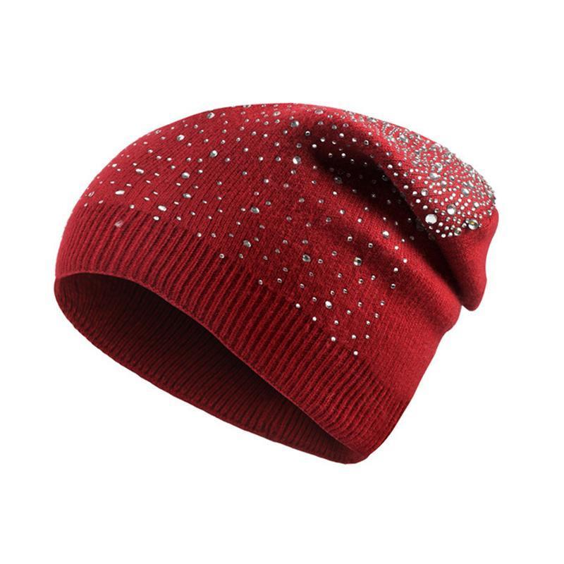 Beanie / черепные колпачки мягкие вязаные вязаные стразы шляпы для женщин 2021 зимние черепочки толстые теплые хеджирование гору капот Femme