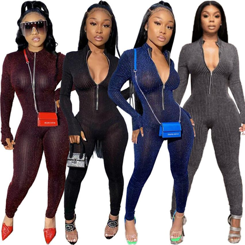 couleur unie des femmes Jumpsuit S-XL Automne Hiver maigre justaucorps mince barboteuses salopette à manches longues pantalon une pièce Casual usure du club 4073