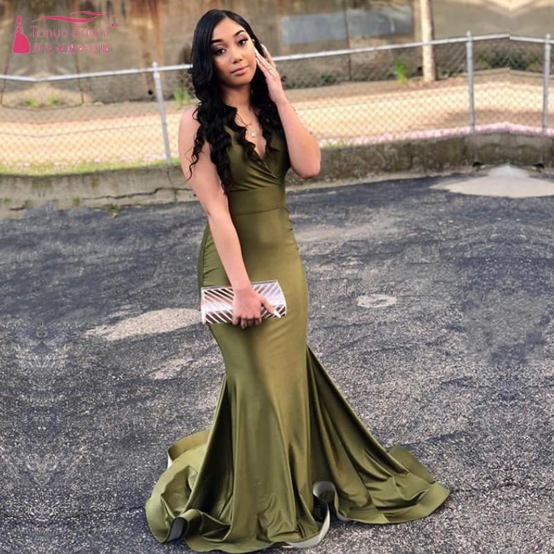 Simple vert olive élégant col en V manches sirène bon marché des robes de bal Noir Sexy Girl Robes de soirée étage Longueur W055