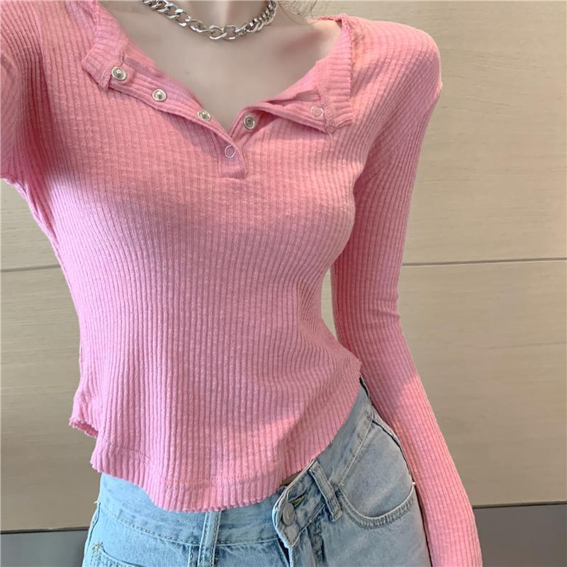Temel Siyah Pembe Örme T Shirt Kadın Üst İlkbahar Sonbahar Uzun Kollu Tee Gömlek Petite Camiseta Feminna Camisa Mujer kırpma