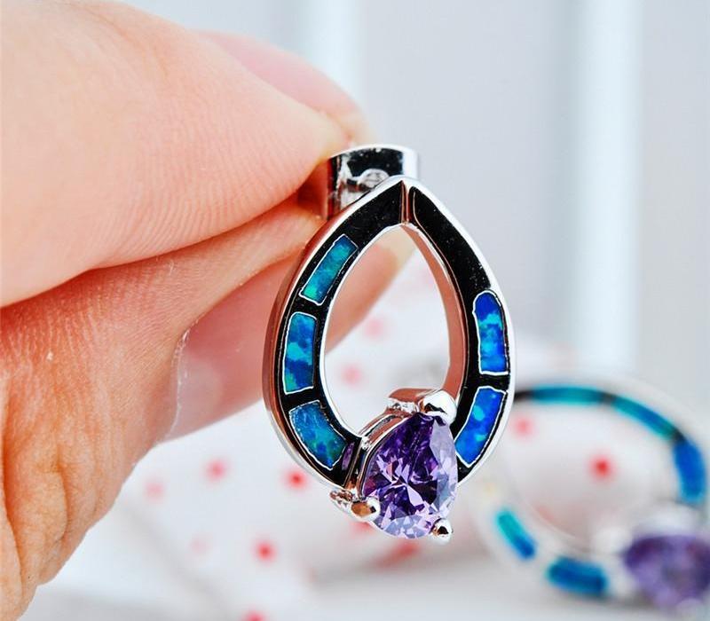 Boho Kadın Mor Zirkon Taş Küpe Charm Mavi Opal Gümüş Hollow saplama Küpe Sevimli Gelin Oval Düğün For11